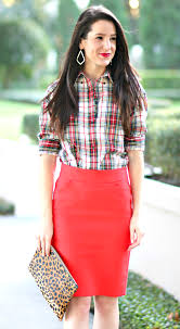 how to wear a red pencil skirt to work scottish plaid red