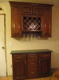 contemporary kitchen with cherry wood wall cabinet wine rack