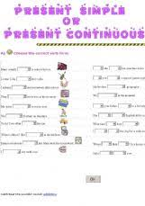 esl english exercises present simple or present continuous