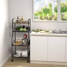 kitchen storage cupboard on wheels homfio metal and wood bakers rack 4 tier bakers rack on wheels