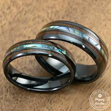 wood wedding rings pair of 6 8mm black ceramic ring with mid abalone shell koa wood