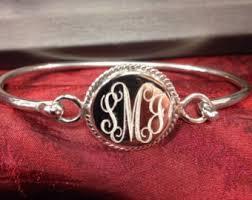 sterling silver monogram bracelet monogrammed bracelet etsy