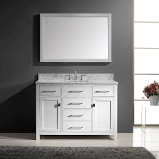 White Wooden Vanity Decor With Beadboard And Oval Wall Mirror - Awesome white 48 bathroom vanity residence