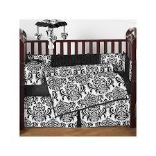 interior black white black crib bedding on dark brown wooden crib