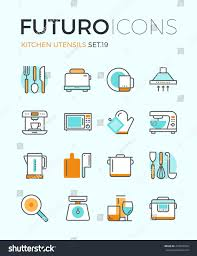 line icons flat design elements kitchen stock vector 274943504