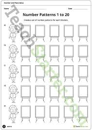 line pattern worksheet einstein number pattern worksheets 1 to 20 teaching resource