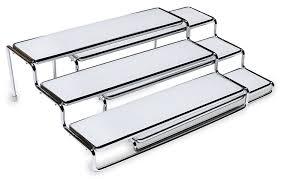 3 tier kitchen cabinet organizer amazon com decobros 3 tier expandable cabinet spice rack step shelf