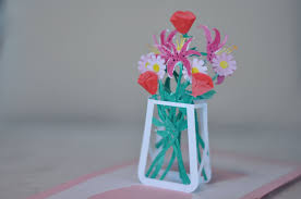 flower bouquet pop up card template creative pop up cards