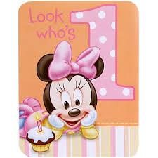 baby minnie mouse 1st birthday invitations 8 pkg disney invites