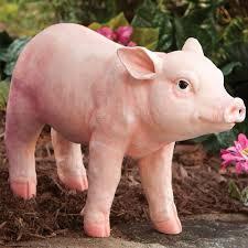 outdoor garden yard statue decor motion sensor pig sculpture hang