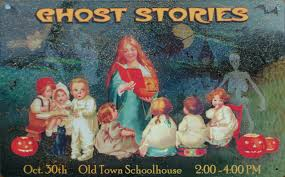 ghost stories old town house tin metal sign halloween