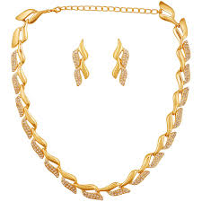 new gold set buy touchstone rhodium plated necklace set for women online at low