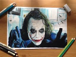 heath ledger joker colour pencil drawing by scottsdrawings on