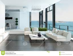 White Couch Living Room Luxury Living Room Interior With White Couch And Seascape View