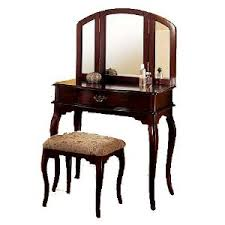 Wood Vanity Table Style Cherry Finish Wood Dressing Table Bench Mirror