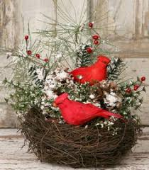 country christmas centerpieces christmas flower arrangement with cardinals on by flowersandfrills