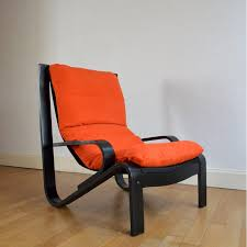 Scandinavian Design Armchair Scandinavian Design Armchair In Orange And Black 1980s Design