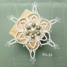 christmas ornament tatted snowflake on satin ball by snappytatter