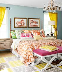 Bedrooms  Colorful Mid Century Bedroom With Colorful Striped Bed - Bright bedroom designs