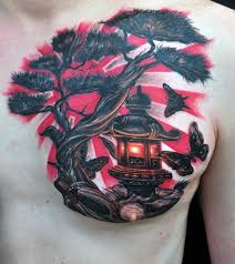 japanese flag bonsai tree with lantern chest tattoos for men