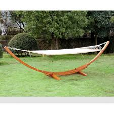 outsunny 4m outdoor wooden hammock with arc stand frame 5662
