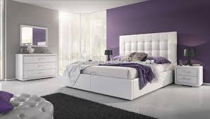chambre a coucher blanc design lit design avec coffre 160x200 capitonné revêtement simili cuir