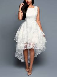 white dresses high low white lace dress three layered sleeveless