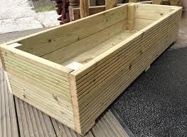 large decking wooden garden planter 0 6m 1 2m or 1 8m wood trough