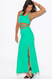 shop mint green high slit crepe evening cocktail party maxi two