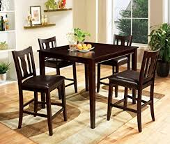 wood counter height table amazon com furniture of america marion 5 piece solid wood counter