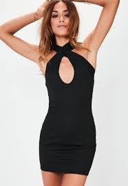 plunge dress cross front plunge bodycon dress black missguided