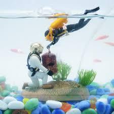 1 set of 2 treasure diving aquarium fish tank ornaments