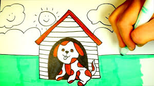 how to draw a dog house dog coloring page for kids youtube