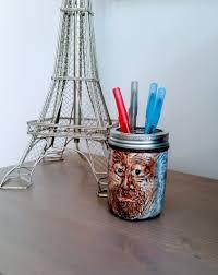 handmade air dry clay caricature pen holder mason jar money jar