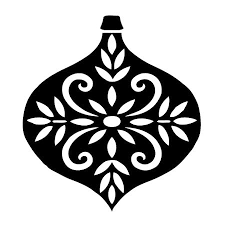 black and white decorated ornament
