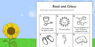 read and colour worksheet seasons weather reading