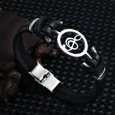 leather stainless steel bracelet images Musical note leather bracelet capthatt mens clothing jpg