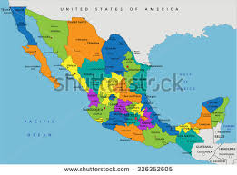 political map of mexico colorful mexico political map clearly labeled stock vector
