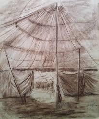 john m alfsen canadian circus tent original conte drawing