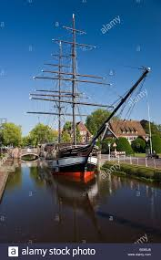 Two Master by Papenburg City Canal Boat Navigation Sailing Ship Two Master Brigg
