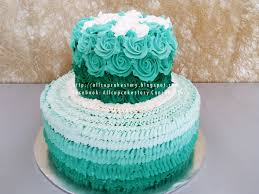 allcupcakestory turquoise rosette wedding cake
