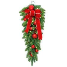 How To Decorate A Swag For Christmas Tear Drop Christmas Swag Christmas Wreaths U0026 Garland The