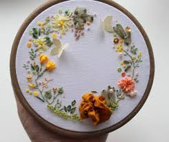 ribbon embroidery flower garden beautiful yellow flowers garden entirely hand embroidered by l u0026f