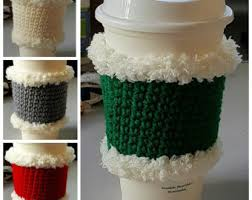 of gold crochet cup cozy pattern for a starbucks grande cup hand warmer mug etsy