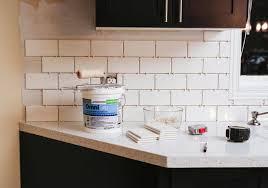 how to install tile backsplash kitchen how we installed our subway tile backsplash stager