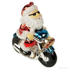 motorcycle santa ornament shatterproof
