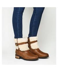 lyst ugg uptown emalie leather wedge boots in black lyst ugg blayre ii shearling boots in brown