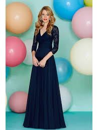 ronald joyce 29167 lace sleeve evening dress navy