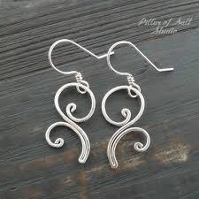 vire earrings flourish dangle sterling silver wire earrings pillar of salt