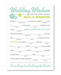 wedding advice cards madlib wedding advice card for guests would be so to read